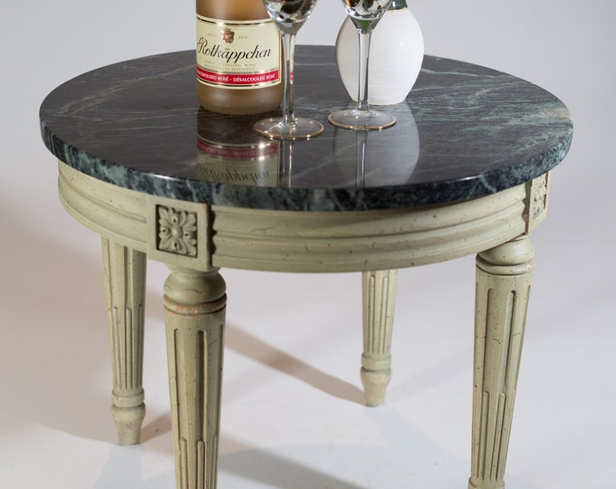 Marble Coffee Table / Vintage French Colonial Carved Wood and Green Marble Top Small End Table for Planter Potted Plants