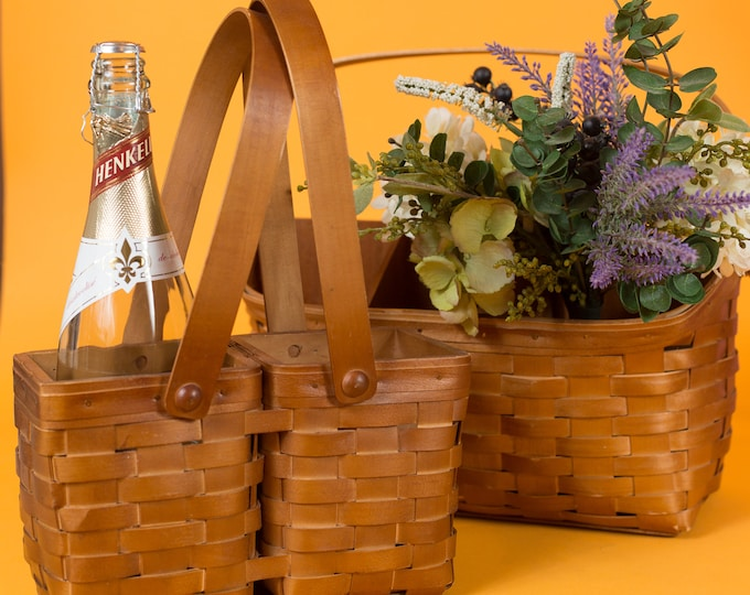 Vintage Wicker Baskets - Canadian Maple Baskets Made by Heritage Mint LTD.  - Rattan Wine Bottle Woven Wood Picnic Baskets with Handles