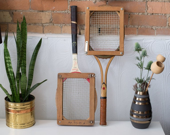 Vintage Wood Tennis Racquets - Pair of Wooden Rackets with Wood Protectors - Retro Sports Decor - Boys Room - Cooper Tournament Racket
