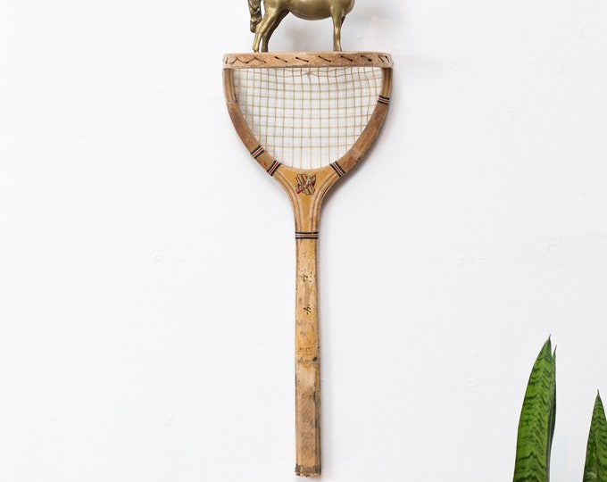 Vintage Racquet Shelf - Upcycled Tennis Racket Wall Trophy and Awards Display Shelf - Repurposed Sporting Equipment - Mancave Den Sporty Art