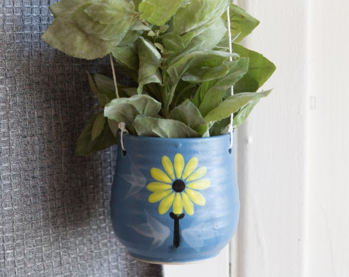 Blue Hanging Planter with Flower - Ceramic Pot - Boho Modern Succulent, Herb or Cactus Pot