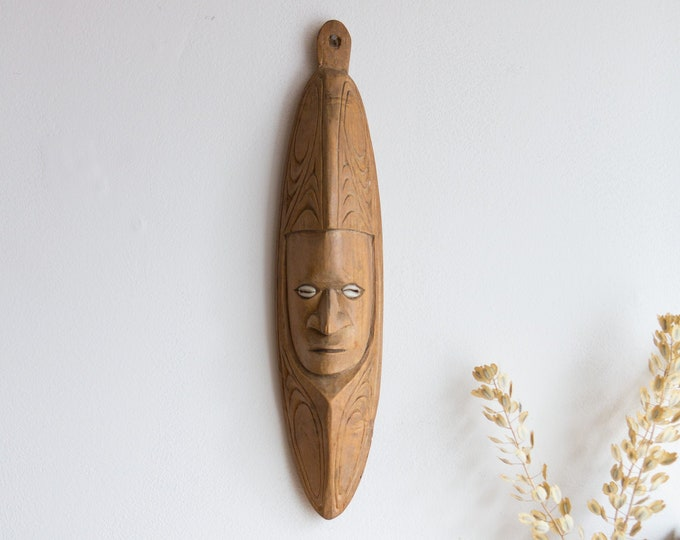 Chambri Wood Mask - PAPUA NEW GUINEA Hand Carved Solid Exotic Wood Decorative Tribal Indigenous Mask - Modern Boho - Gift for Him
