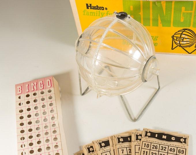 Vintage Bingo Game - 1960 Hasbro Family Fun Plastic Bingo Roller and Cards in Original Box