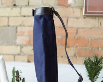 Vintage Tube Bag - navy Blue and Faux Leather Carrying Case with Shoulder Strap