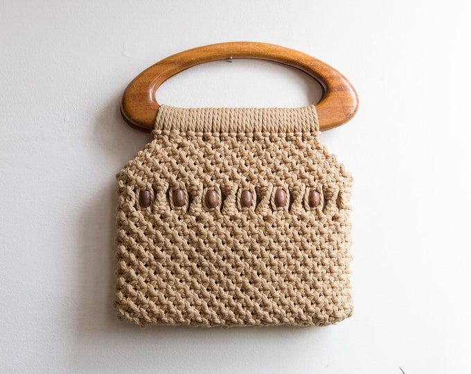 Handmade Macrame Purse - Vintage Boho Bag - Hand Knotted Stylish Storage Bohemian Style Reusable Washable Bag with Wood Handle