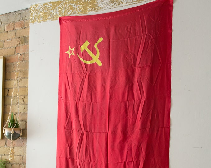 Vintage Soviet Flag / LARGE 1980's Russian Soviet Union Memorabilia / USSR Red and Golden Hammer and Sickle and Star -State Symbol Army Flag
