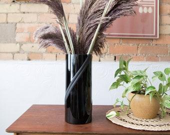 80's Art Deco Vase - Vintage Black Flower Vase - Retro Ceramic 1980's Decor - Shell Shaped Vase - Ocean Beach Decor