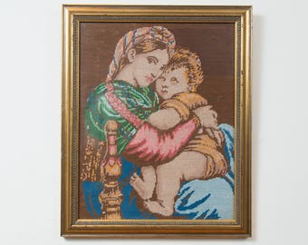 Vintage Mother and Daughter Needlepoint Artwork / Framed Embroidered Cross Stitch Baby and Maternal Figure Girl Fabric Art Tapestry