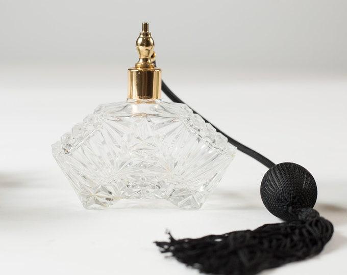 Vintage Perfume Bottle - Black Pump Spray Atomizer Refillable Bottle Bottle with Clear Glass Art Deco Design - black tassels eau de toilette