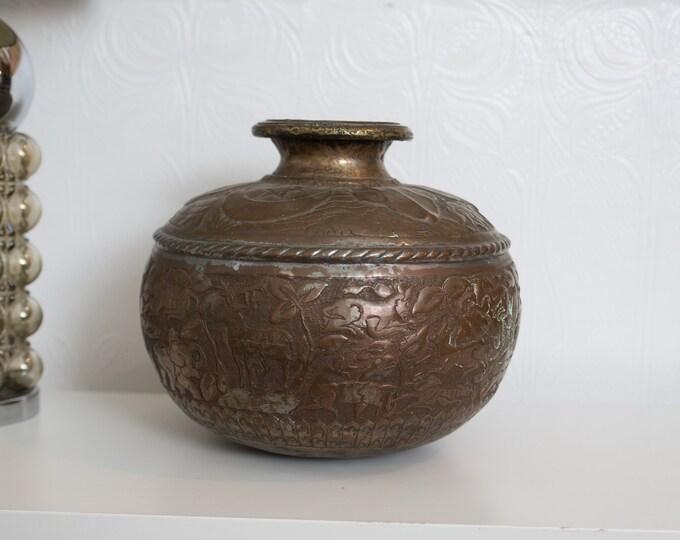 Vintage Indian Vase - Metallic Bronze Coloured Metal Bubble Vase