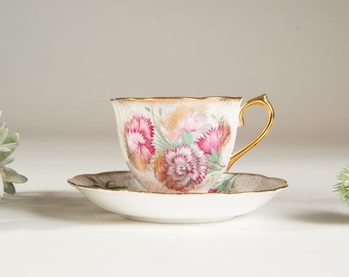 Vintage Bone China Teacup - Royal Albert Gold with Flowers Bone China Teacup and Saucer - Made in England