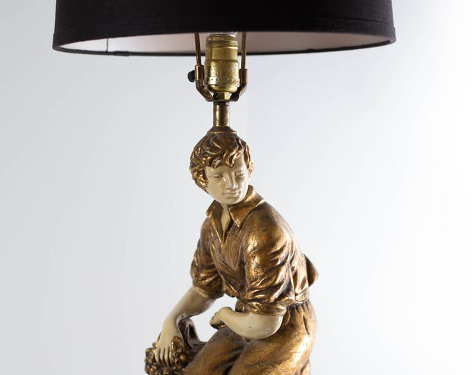 Figural Bedside Lamp / Antique Art Deco Hollywood Regency Gold Guilded Accent Lamp / Florentine Style Lamp with Ceramic Male Figure