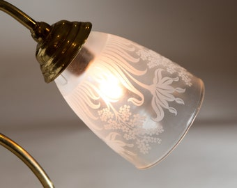 Small Glass Shade with Ornate Motifs Iridescent hand blown Glass Pendant Chandelier Shade Victorian Lamp Replacement Globe