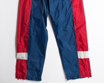 Boys Vintage Track Pants - 80's/90's Color Block Toddler Red and Blue Rain Pants