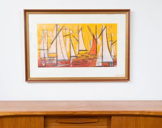 Peter Markgraf Print Sunset in the Harbour / Vintage Minimalist Mid Century Modern Artwork / Retro Pop Art Yellow and Orange Sailing Art