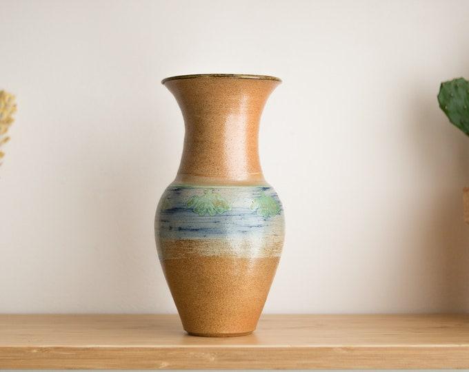 Vintage Ceramic Vase - Light Brown Coloured Stoneware Ceramic Vase with Blue, Green and Beige Tones