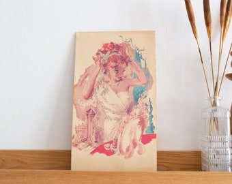 Vintage Print of Redhead Female - Artwork Of Art Deco Woman by Arthur A Kaplan.