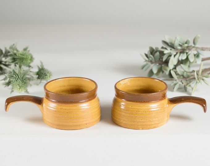 2 Vintage Soup Bowls - Handmade Studio Pottery Yellow and Brown Ceramic Dinnerware - French Onion Soup and Crackers Bowls - Rustic Kitchen