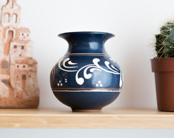 Blue Ceramic Vase - Italian Terracotta Vase - Vintage Studio Pottery Art Vase for Flowers, Branches, Floral Arrangement - Toscany Style Vase