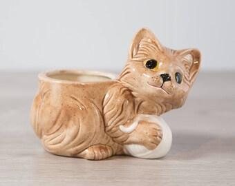 Vintage Cat Planter / Ceramic Mid Century Modern Cat Planter / Kitsch Home Decor