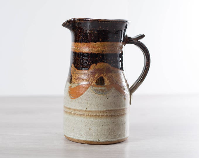 Vintage Ceramic Jug Vase / Brown and Cream Studio Pottery with Wavy Pattern and Handle / Rustic Boho Water Jug