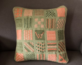 Vintage Crochet Pillow - 13x13 Salmon Pink and Soft Green Floral Leafy Ornate Pattern Cross Stitch Decorative Throw Pillow