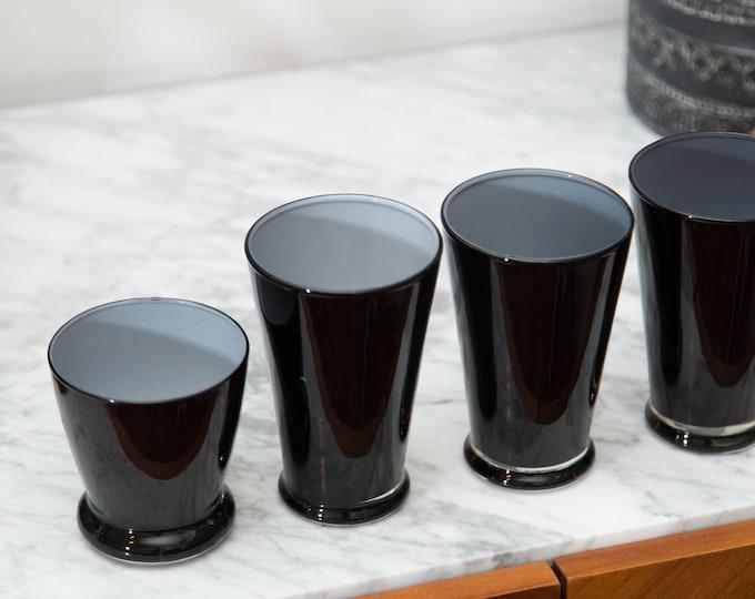 Black Bar Glasses - Vintage Black Tumblers with White interior / Hollywood Regency Glasses