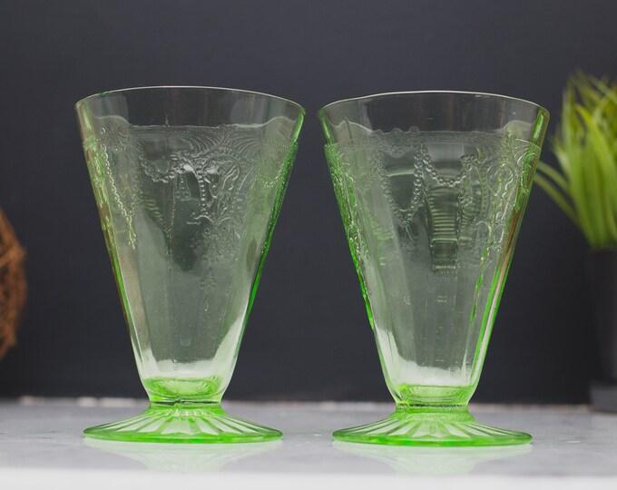 Vaseline Glass Flute Glasses - Pair of Antique Uranium Ice Cream Depression Glass Collectible Serving Cups - Glows Under Blacklight