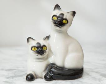 Vintage Cat Planter - Ceramic Mid Century Modern Black and White Kitten Planter - Kitchen Sink Sponge Holder
