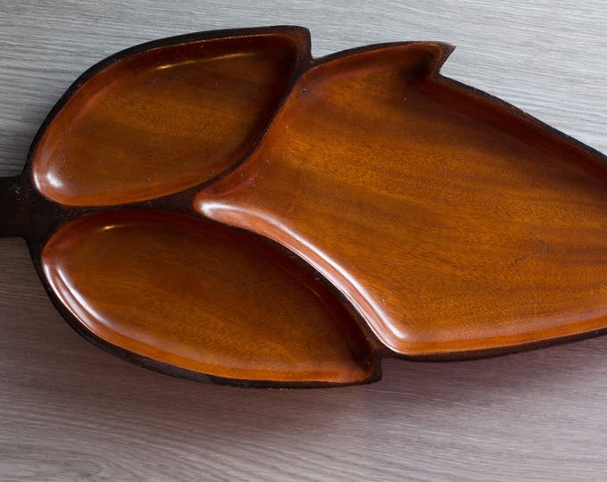 Wood Leaf Snack Tray / Vintage Solid Exotic Hardwood Food Safe Serving Appetizer Dish Platter / made in Haiti / Danish Modern Nordic Decor