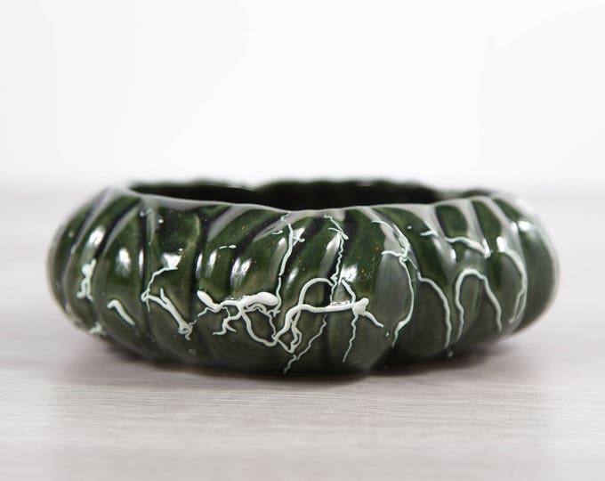 Vintage Green Planter / Round Flat Ceramic Plant Pot / Mid Century Modern Dark Green Earth-tone Textured Succulent Cactus Planters