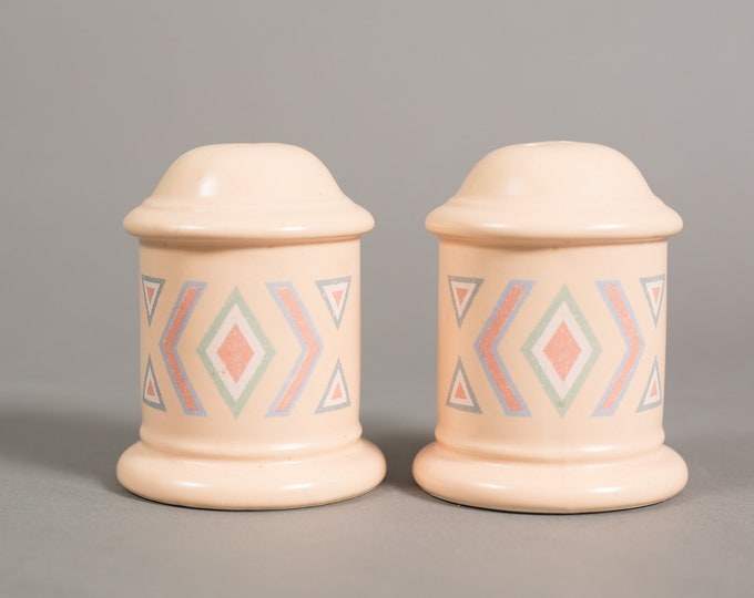 Ceramic Salt and Pepper - Southwest Aztec Vintage Pink Salmon Peach Colored Round Geometric PatternShakers