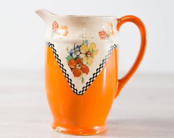 Antique BCM Nelson Ware Pitcher / Orange and White Floral Water Jug c. late 1800's