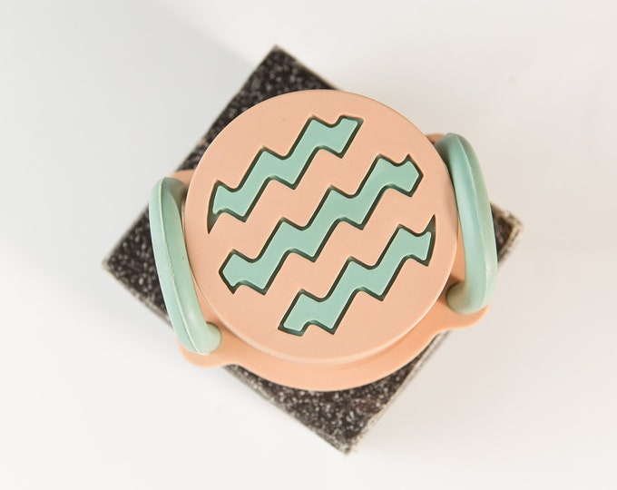 1980's Designer Coasters - Vintage Peach and Mint Green Coloured Cocktail Coasters - Flintstones Style Rubber Coasters - Boho Modern Decor