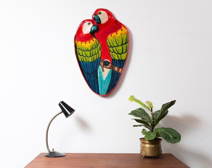 Vintage Parrot Tray - Paper Mache (Papier-mâché) Serving Bar Cocktail Platter - 1980's Handmade Arts/Crafts Jungle Macaw Exotic Rainbow Bird