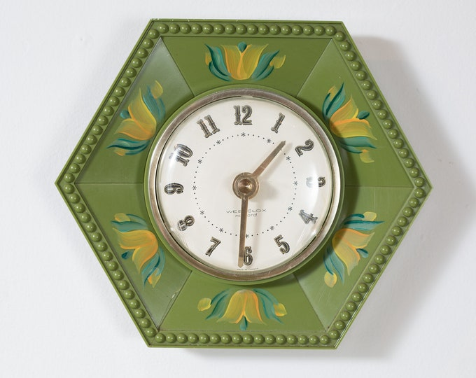 Vintage Wall Clock - Mid Century Kitsch Olive Green Plastic Geometric Shape Wall Clock - Hexagon Shape Floral Tulip Painted Clock