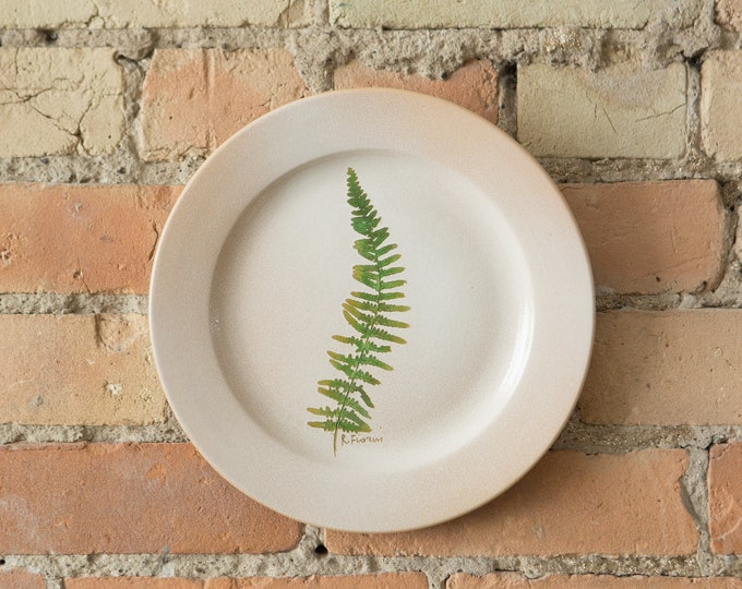 Plate with Fern - Ceramic Studio Pottery Decorative Wall Plate with Botanical Imagery - Flora Inspired Beige Boho Desert Clay Artist Plate