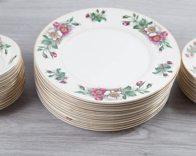 Vintage Floral Plates and Bowls Set - Ornate Pink and White Flowers - Ivory Ware - John Maddock and Sons Ltd. - Made in England