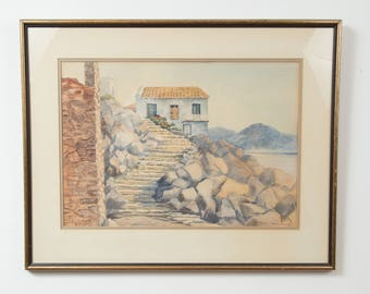 Watercolour Painting - Pauline Holancinkulha Original Painting - Cobblestone Stairs Beach House Hut Rocks Sea Lake Ocean - Canadian Art
