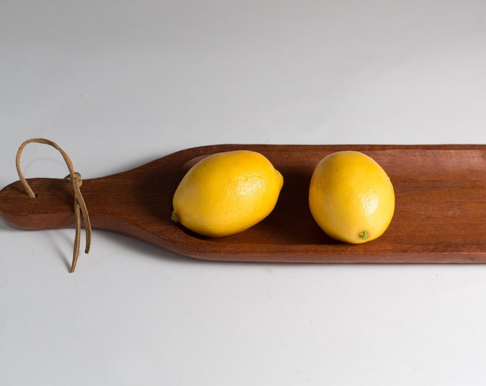 Vintage Teak Tray - Wood Grain Serving Bar Cocktail Tray - 1960's Exotic wood Cheese Snack Platter