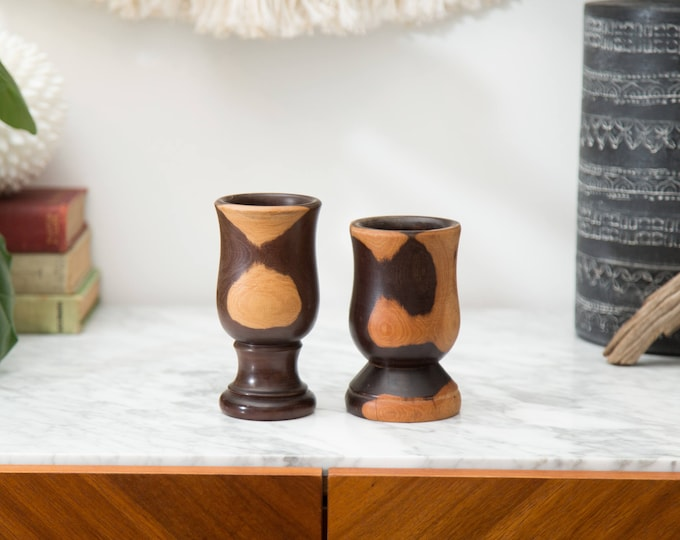 Vintage Wood Cups - Marbled Solid Wood Goblets - Hand Turned Exotic Wood  Vase with Dark and Light Grains