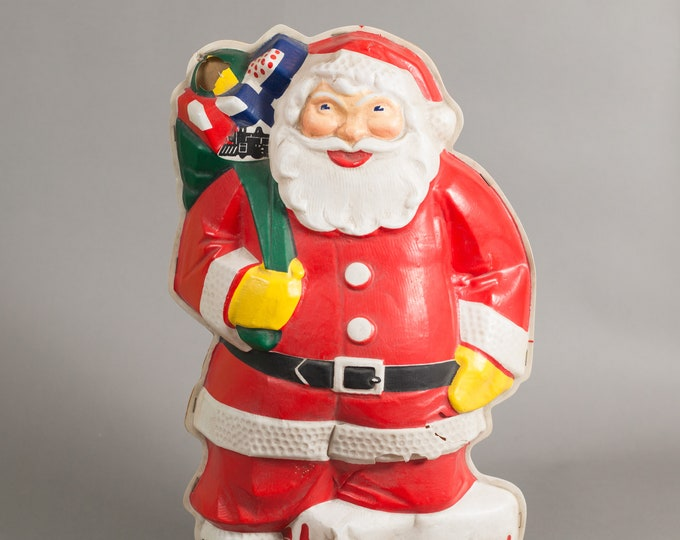 Christmas Santa Light - Mid-century Plastic Santa Claus with Lamp Bulb Inside