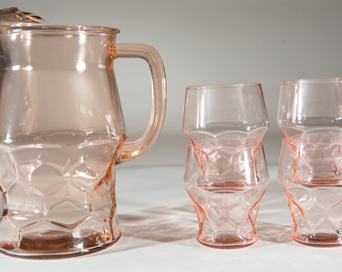 Pink Glass Pitcher and Glasses Set - Honeycomb Pattern Cocktail Juice Jug - Depression Glass Georgian Style Style Pitcher