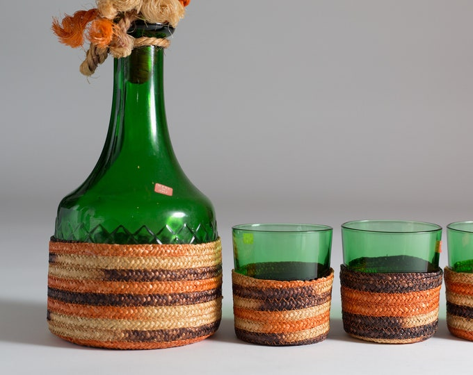 Italian Glass and Decanter Set - Italian Rope Wrapped Green Glass Liquor Bottle and Lowball Tumbler Glasses -Mid-Century Wine Jug from Italy