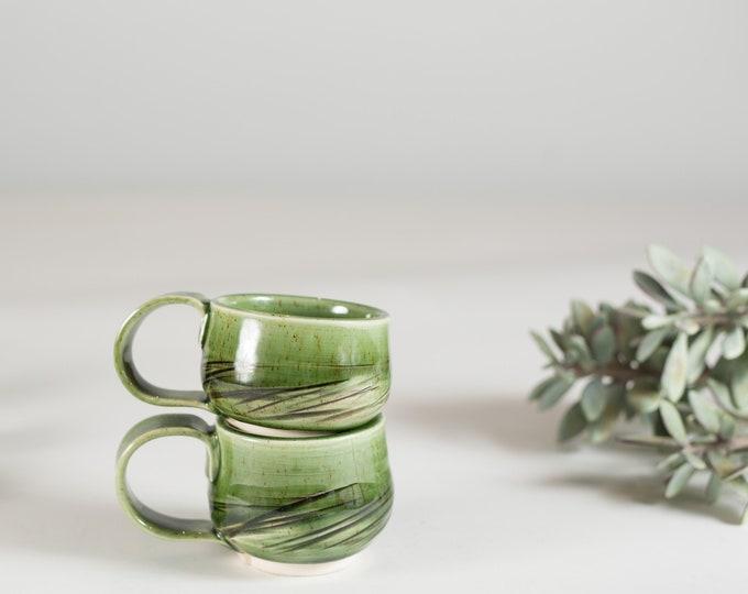 Vintage Green Mugs / Pair of Ceramic Coffee Cups / Boho Modern Dark Green Earth-tone Vases Planters