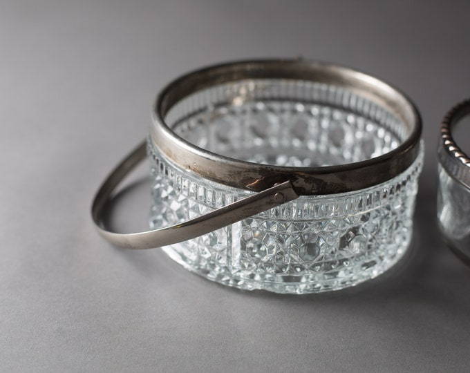 Vintage Glass Bowls - Silver Plated Crystal Buckets - Snack Dishes with Metal Rims - Ice Buckets