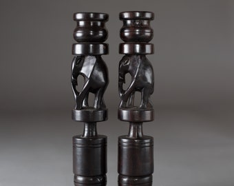 Ebony Candlestick Holders - Vintage Dark Solid Wood Mahogany African Candlestick Holders with Hand Carved Elephants