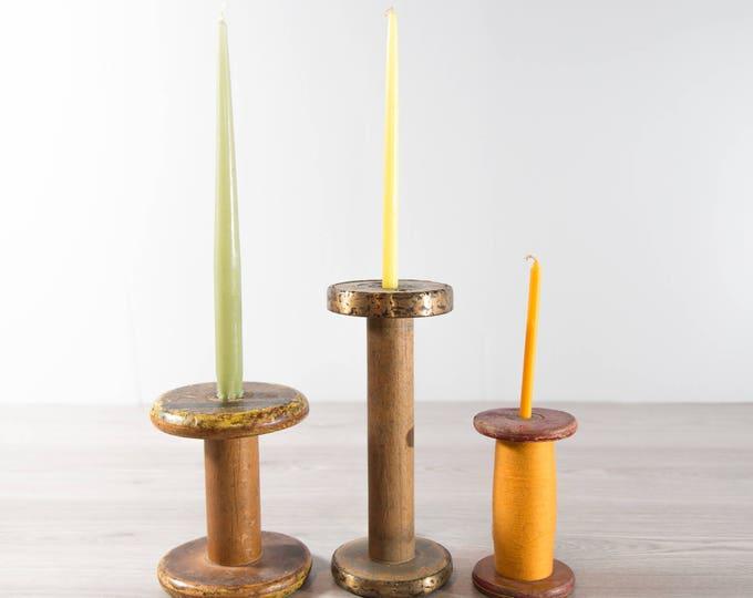 Vintage Wood Spools Set / Repurposed Candle Holders / Primitive Wool Mill Spools
