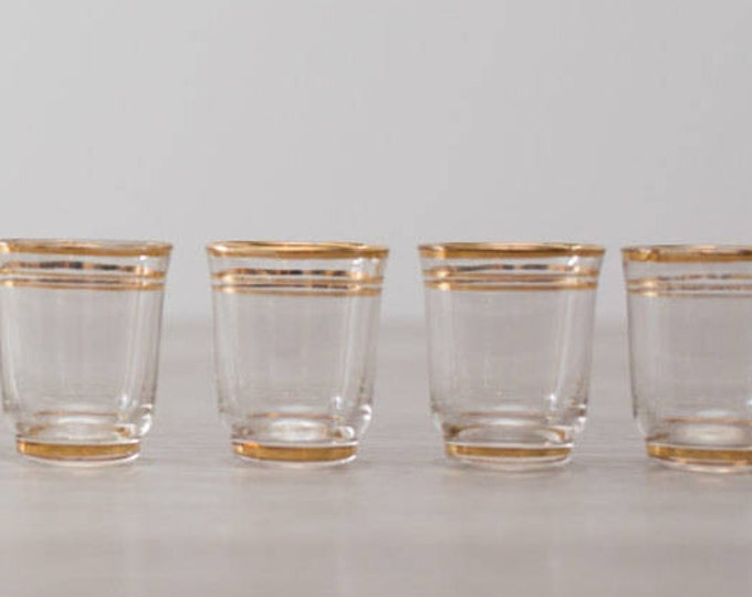 Vintage Gold Band Shot Glasses set of 5 / Mid Century Modern Stripe Design / Shotglass Barware