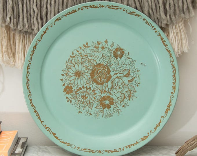 Vintage Blue Metal Tray - Large Decorative Robin's Egg Blue Serving Plate with Gold Flowers